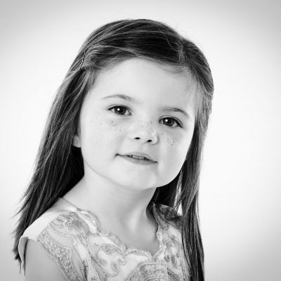 beautiful black & white photograph freckles on girl Offley Photography
