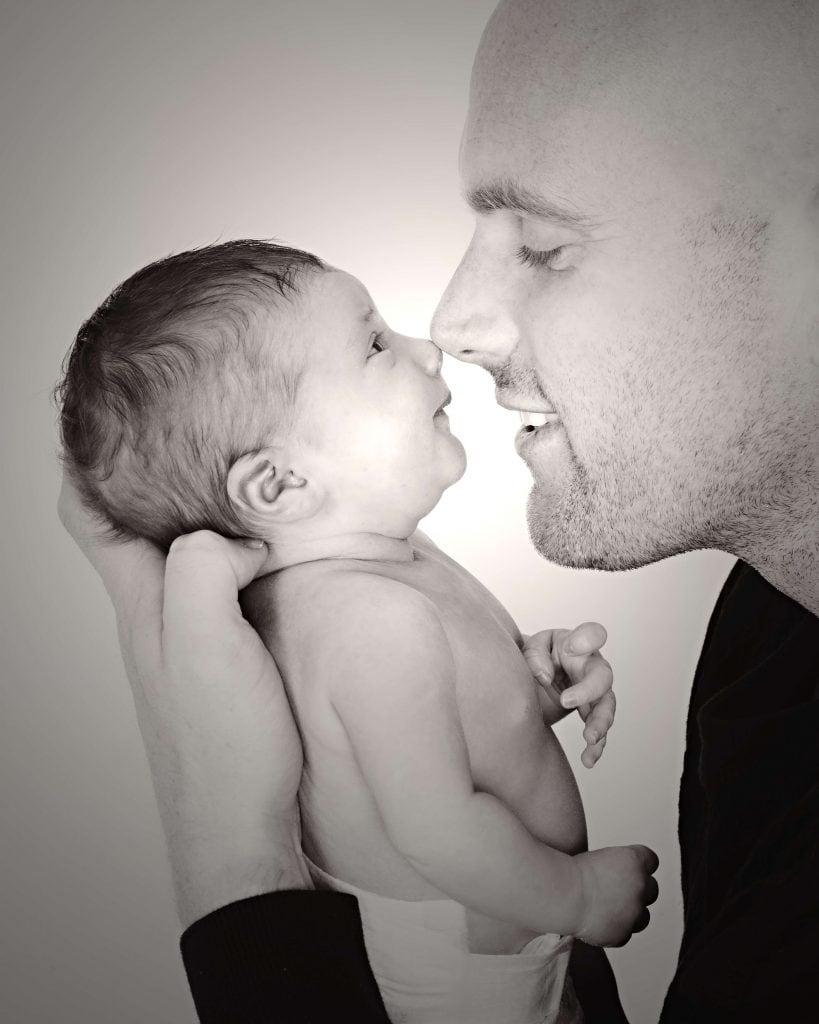 stunning newborn baby and dad photo