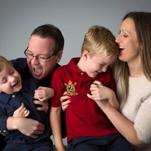 family portrait on grey background colourful sarah offley