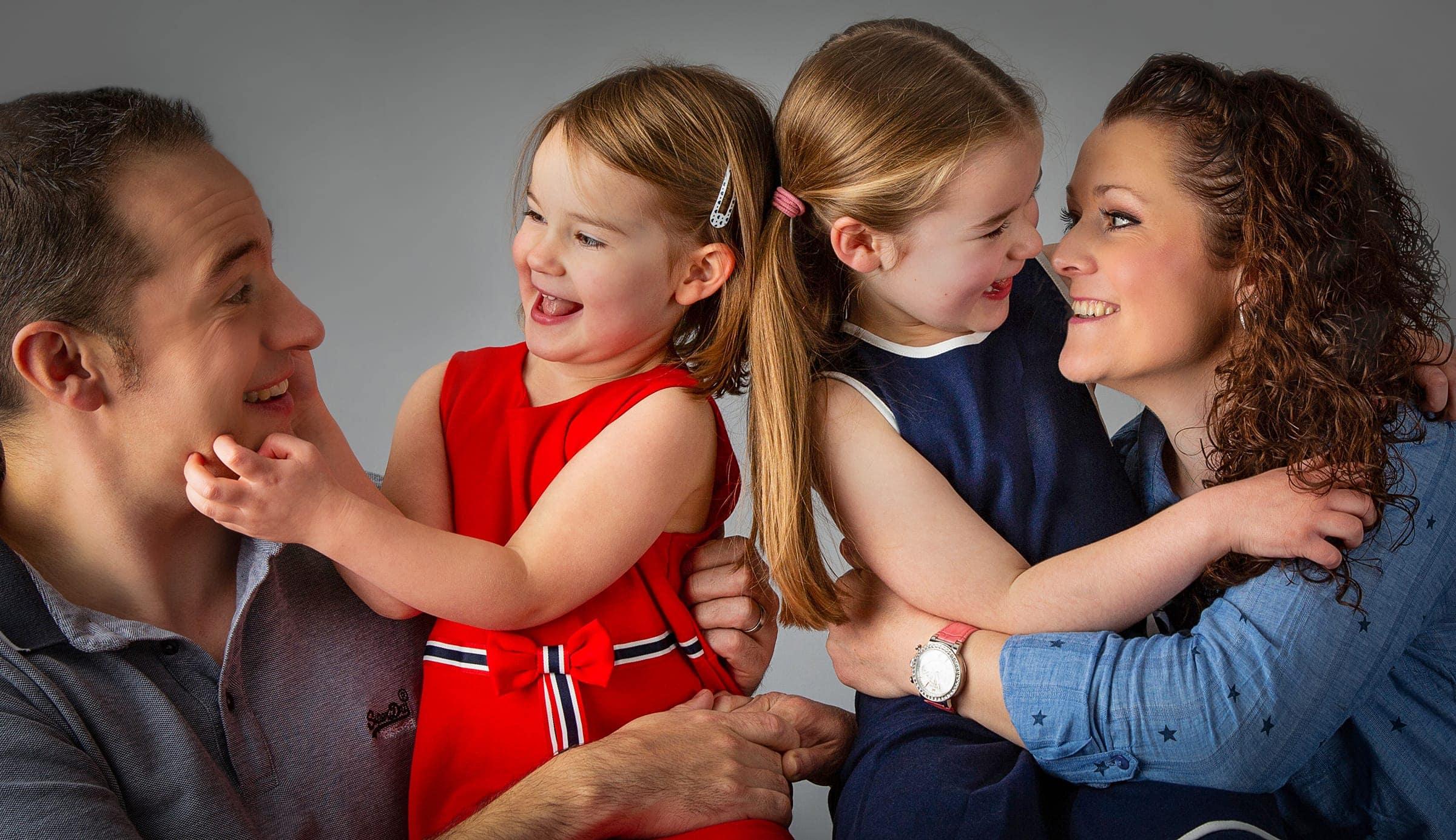 studio family photoshoot with older children
