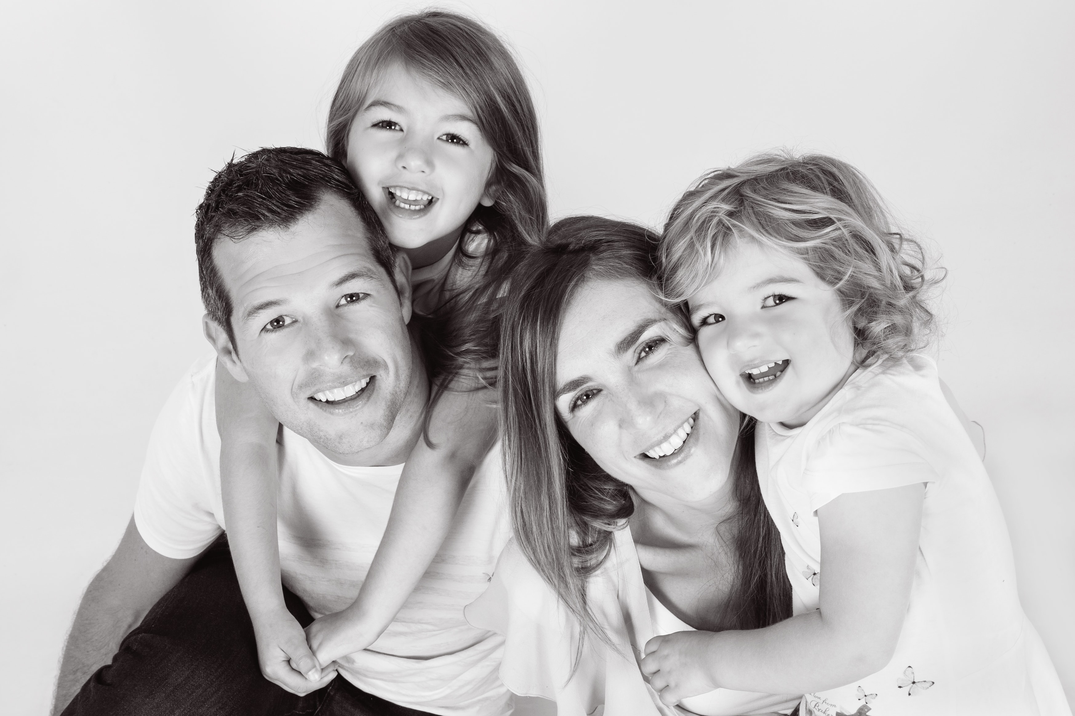 black and white professional family photographer